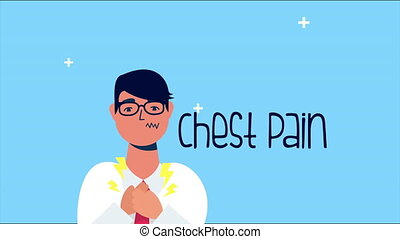 sick person with chest pain covid 19 symptom ,4k video animated