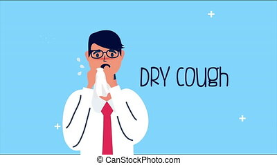 sick person with dry cough covid 19 pandemic ,4k video animated