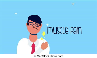 sick person with muscle pain covid 19 symptom ,4k video animated
