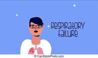 sick person with respiratory failure covid 19 symptom ,4k video animated
