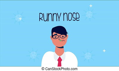 sick person with runny nose covid 19 symptom ,4k video animated