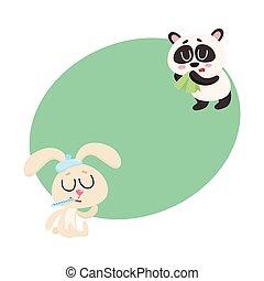Sick rabbit and panda bear having cold, flu, runny nose