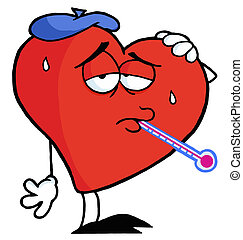 Sweaty Red Heart Sick With The Flu, Wearing An Ice Pack, A Thermometer Stuck In His Mouth