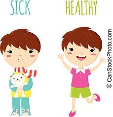Sick sad little boy and cheerful healthy jumping boy