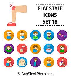 Sick set icons in flat style. Big collection sick bitmap,raster symbol stock illustration
