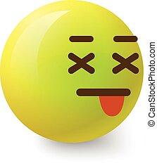Sick smiley icon, cartoon style