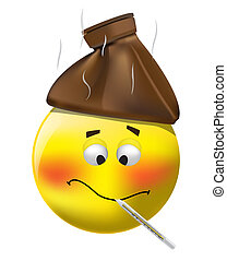 Sick Smiley - illustration of sick smiley measuring...