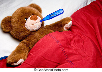 Sick Teddy Bear - A sick teddy bear with a thermometer in...