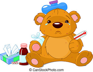 A sick Teddy Bear with thermometer, hot water bottle, peels and a bottle of medicine.
