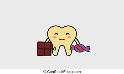 sick tooth cry with chocolate and candy animation hd