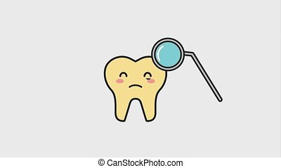 sick tooth crying with hygiene tool animation hd
