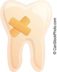 Sick tooth icon, cartoon style