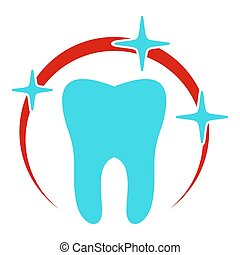 Sick tooth icon, flat style.