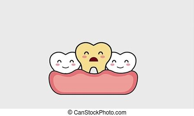 sick tooth in the mouth then happy teeth animation hd