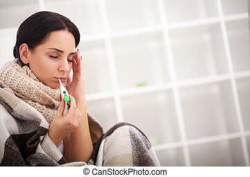 Sick Woman, Flu Woman. Caught Cold. Woman feeling cold
