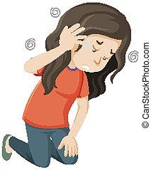 Sick woman having dizzy illustration