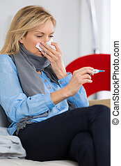 sick woman sneeze