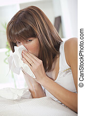 sick woman with handkerchief