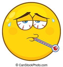 Sick Yellow Cartoon Face Character With Tired Expression And Thermometer