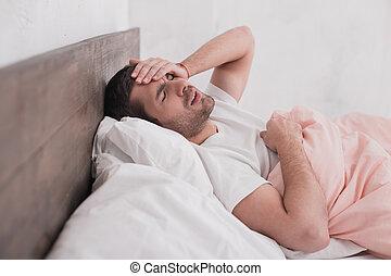 Sick young man headache concept