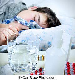Sick Young Man sleep