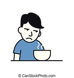 Sick young man with no appetite in front of the meal. Flat vector illustration. Isolated on white background.