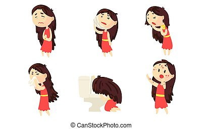 Sickness Girl Suffering From Different Symptoms Collection, Female Person Having Toothache, Stomach Ache, Rash, Vomiting Vector Illustration