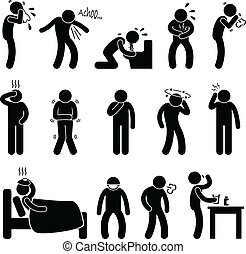 A set of pictogram representing sick people with symptom such as sneeze, cough, vomit, diarrhea, cough, hedache, dizzy, cold, flu, and fatigue.