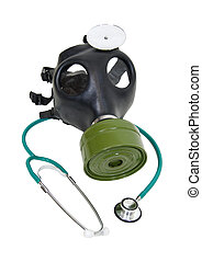 Sickness prevention - Stethoscope and a rubber gas mask to...