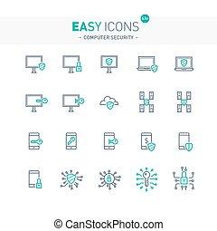 sicurezza, 43e, computer, facile, icone