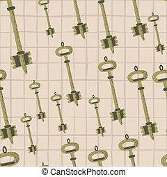 sicurezza, chiave, ornament., chequered, forme, seamless, modello, rosa, semplice, vecchio, luce oro, casuale, fondo.
