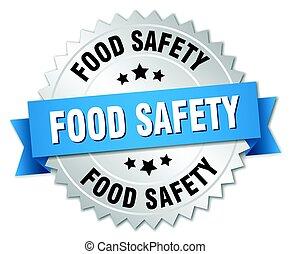 sicurezza cibo, rotondo, isolato, argento, distintivo