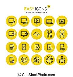 sicurezza, computer, 43c, facile, icone