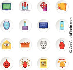 sicurezza, computer, set, icone