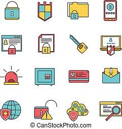 sicurezza, computer, set, linea, icone