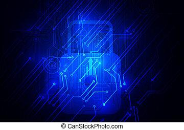sicurezza, concept., cyber, rete