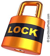 sicurezza, concetto, padlock., (hi-res)