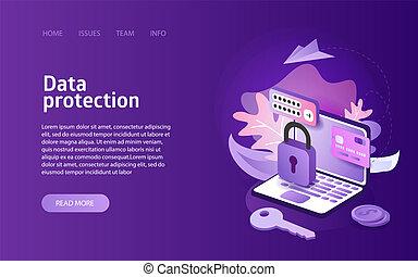 sicurezza, concetto, protezione dati, linea