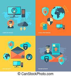 sicurezza, concetto, rete