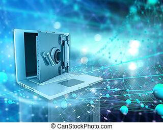 sicurezza, descrivere, tecnico, 3d, concettuale, computer, fondo