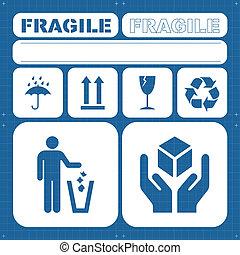 sicurezza, fragile, vettore, set, icona