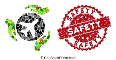 sicurezza, mani, aviazione, collage, francobollo, cura, textured