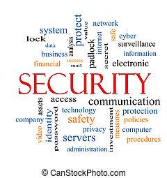 sicurezza, parola, nuvola, concetto