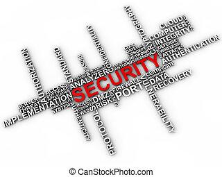 sicurezza, parola, nuvola, sopra, sfondo bianco