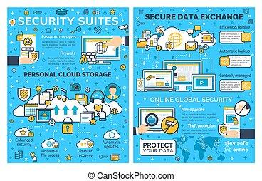 sicurezza, protezione, dati, internet, linea