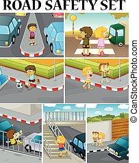 sicurezza, scene, strada, bambini