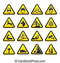 sicurezza, set, avvertimento firma