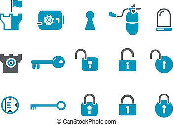 sicurezza, set, icona