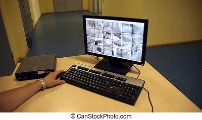 sicurezza, sorveglianza, monitor
