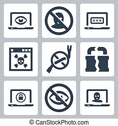 sicurezza, vettore, computer, set, icone